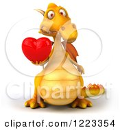 3d Yellow Dragon Holding A Red Heart 3
