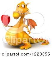 3d Yellow Dragon Holding A Red Heart 2
