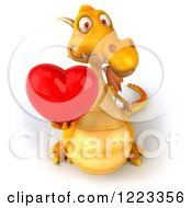 3d Yellow Dragon Holding A Red Heart