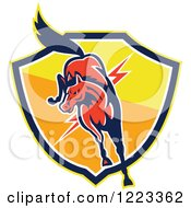Clipart Of A Red Horse Jumping Over A Lightning Bolt And Shield Royalty Free Vector Illustration
