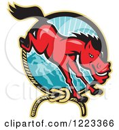 Clipart Of A Red Horse Leaping Over A Lariat Rope And Mountains Royalty Free Vector Illustration