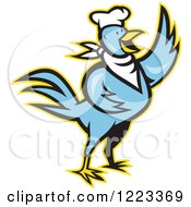 Blue Cartoon Chef Chicken Waving With A Yellow Outline