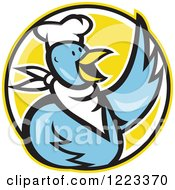 Clipart Of A Blue Cartoon Chef Chicken Waving Over A Yellow Circle Royalty Free Vector Illustration by patrimonio