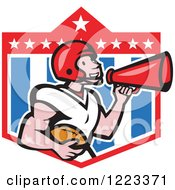 Clipart Of A Cartoon American Football Player Holding A Ball And Using A Megaphone Over A Shield Royalty Free Vector Illustration by patrimonio