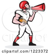 Clipart Of A Cartoon American Football Player Holding A Ball And Using A Megaphone Royalty Free Vector Illustration by patrimonio