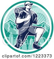 Clipart Of A Retro Woodcut Man Hiking Over Mountains In A Turquoise Circle Royalty Free Vector Illustration by patrimonio