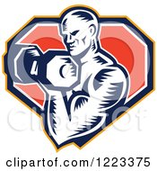 Clipart Of A Retro Woodcut Male Bodybuilder Doing Bicep Curls With A Dumbbell Over A Shield Royalty Free Vector Illustration