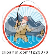 Clipart Of A Cartoon Man Fly Fishing In A Mountainous Lake Circle Royalty Free Vector Illustration by patrimonio