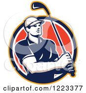 Clipart Of A Male Golfer Swinging A Club In A Red Circle Royalty Free Vector Illustration