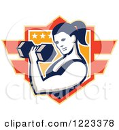 Clipart Of A Strong Woman Doing Bicep Curls With A Dumbbell Over A Shield Royalty Free Vector Illustration