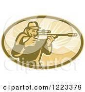 Clipart Of A Retro Hunter Looking Through A Rifle Scope In An Oval Of Mountains And Rays Royalty Free Vector Illustration