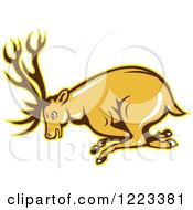 Clipart Of A Cartoon Deer Buck Charging Royalty Free Vector Illustration by patrimonio