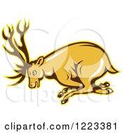 Clipart Of A Cartoon Deer Buck Charging Royalty Free Vector Illustration