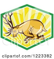 Clipart Of A Cartoon Deer Buck Charging In A Shield Of Rays Royalty Free Vector Illustration by patrimonio