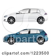Blue And White Cars