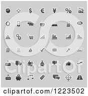 Clipart Of Business Icons On Gray Royalty Free Vector Illustration