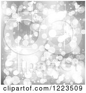 Clipart Of A Silver Background Of Bokeh Lights And Sparkles Royalty Free Vector Illustration
