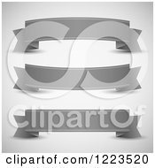 Clipart Of Grayscale Ribbon Paper Banners Royalty Free Vector Illustration by vectorace