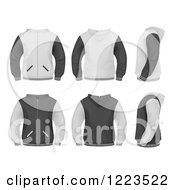 Clipart Of Grayscale Mens Jackets Royalty Free Vector Illustration