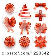 Red Ribbons Bows And A Christmas Tree