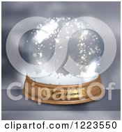 Clipart Of A Merry Christmas Greeting On A Snow Globe Royalty Free Vector Illustration by vectorace