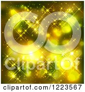 Clipart Of A Background Of Green And Yellow Lights Royalty Free Vector Illustration