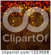 Clipart Of A Brown Background Of Bokeh Lights And Sparkles Royalty Free Vector Illustration