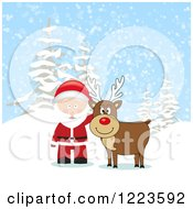Clipart Of A Reindeer And Santa In The Snow Royalty Free Vector Illustration