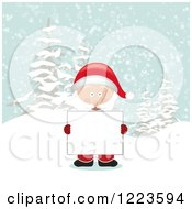 Clipart Of Santa Claus Holding A Sign In The Snow Royalty Free Vector Illustration