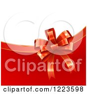 Clipart Of A Bow And Ribbon Christmas Gift Background With White And Red Royalty Free Vector Illustration