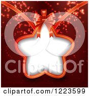 Clipart Of A Star Shaped Christmas Gift Tag Label And Bow Over Red Royalty Free Vector Illustration