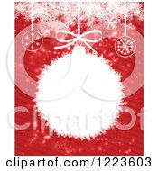 Clipart Of A Christmas Bauble Frame Over Red Stripes With Snowflakes Royalty Free Vector Illustration by vectorace
