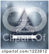 Clipart Of A Merry Christmas And Happy New Year Greeting Triangle Over Flares Royalty Free Vector Illustration by vectorace