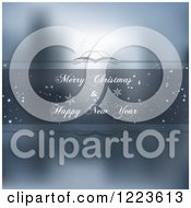 Clipart Of A Merry Christmas And Happy New Year Greeting Frame Over Blur Royalty Free Vector Illustration by vectorace