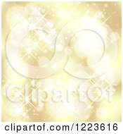 Clipart Of A Golden Background Of Bokeh Lights And Sparkles Royalty Free Vector Illustration