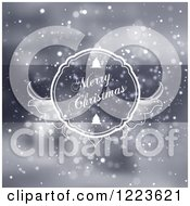 Clipart Of A Merry Christmas Greeting In A Frame Over Snow Royalty Free Vector Illustration by vectorace
