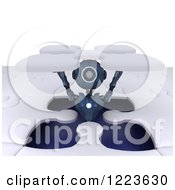Clipart Of A 3d Blue Android Robot Popping Out Of A Jigsaw Puzzle Opening Royalty Free Illustration
