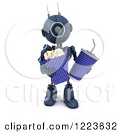 Clipart Of A 3d Blue Android Robot Carrying Movie Popcorn And Soda Royalty Free Illustration