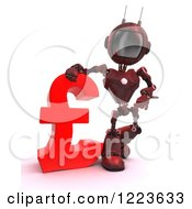 Clipart Of A 3d Red Android Robot Standing By A Lira Currency Symbol Royalty Free Illustration