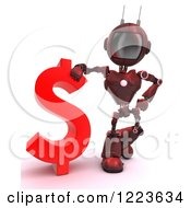 Clipart Of A 3d Red Android Robot Standing By A Dollar Currency Symbol Royalty Free Illustration by KJ Pargeter