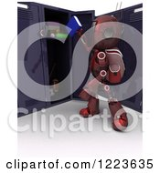 3d Red Android Robot Student Putting A Book In A Locker