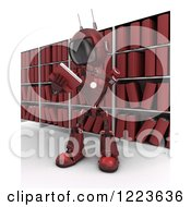 Clipart Of A 3d Red Android Robot Reading A Book In An Archive Room Royalty Free Illustration