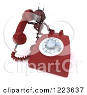 3d Red Android Robot Using A Landline Telephone