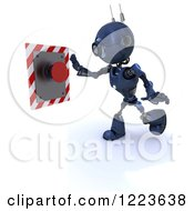 Clipart Of A 3d Blue Android Robot Pushing A Red Button Royalty Free Illustration