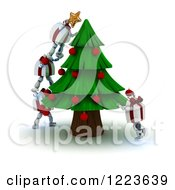 Clipart Of 3d Gift Box Characters Decorating A Christmas Tree Royalty Free Illustration