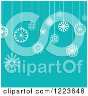 Clipart Of A Turquoise Background With Suspended Christmas Snowflake Ornaments Royalty Free Vector Illustration