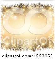 Clipart Of A Sparkly Golden Background Framed In White Snowflakes Royalty Free Vector Illustration
