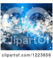 Clipart Of A Blue Christmas Background Of Stars Flares Bokeh And Sparkles Royalty Free Illustration