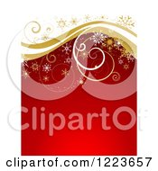 Clipart Of A Red And White Christmas Background With Golden Curly Waves And Snowflakes Royalty Free Vector Illustration by KJ Pargeter