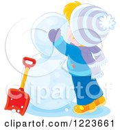 Clipart Of A Blond Boy Making A Snowman Royalty Free Vector Illustration